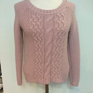 Lilac lavender soft cable knit crew neck sweater